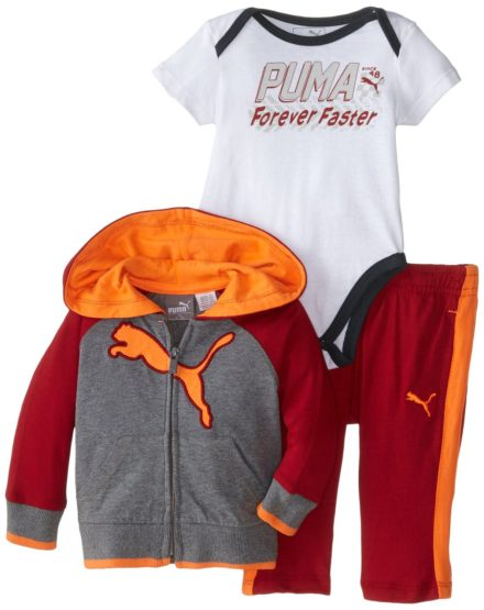 BOYS PUMA 3 PIECES SET (9M-24M) RED -ORANGE