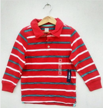 BOYS RED STRIP FULL SLEEVE POLO BY OLD NAVY(18M-5YRS)