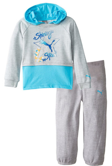 GIRLS SHINNING STAR HOOD & TROUSER SET BY PUMA (2-6YEARS) BLUE