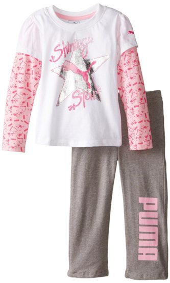 GIRLS SHINNING STAR TEE & TROUSER BY PUMA (4-6YRS)
