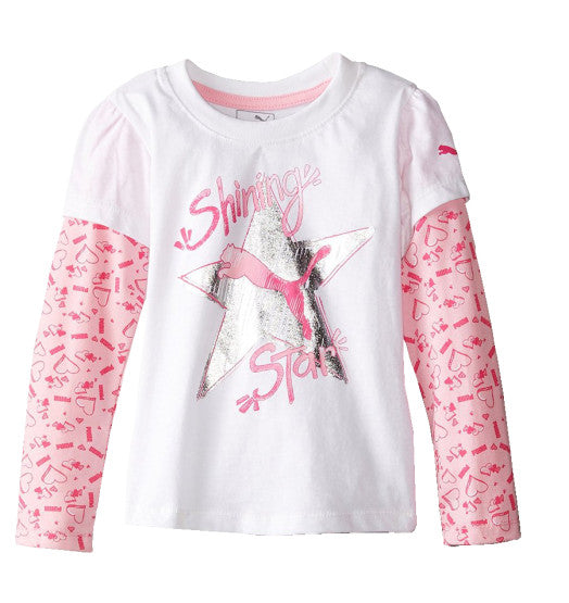 GIRL'S SHINING STAR T-SHIRT PUMA – WHITE