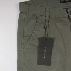 MEN'S OLIVE 'SKINNY FIT' KNEE PATCHED STRETCH CHINO|ZARA