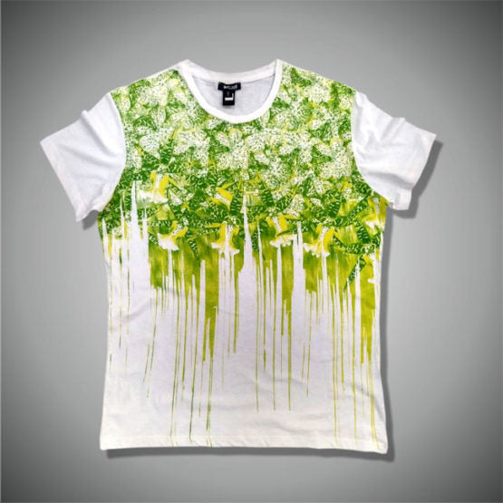 MENS CLASSIC GREEN/WHITE PRINTED TEE BY ROBERTO CAVALLI