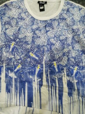 MENS CLASSIC WHITE/BLUE PRINT TEE BY ROBERTO CAVALLI