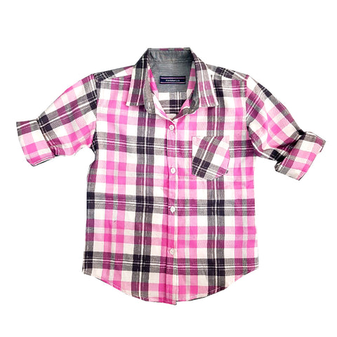 UNISEX PINK & GREY CHECKS CASUAL SHIRT | MARKHOR-(2Y-14Y0