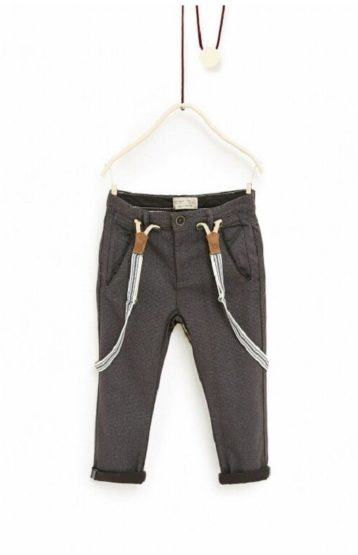 TEXTURED WEAVE TROUSERS WITH BRACES BY ZARA (4-14YEARS)