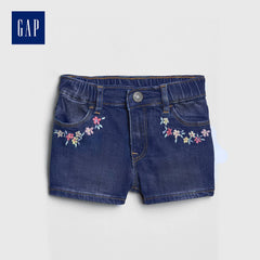 GIRL'S B-GRADE EMRIODERED DENIM SHORTS |GAP-(12M-5Y)