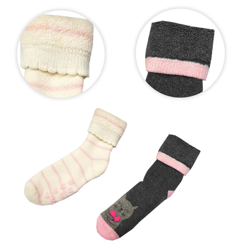 GIRL'S PACK OF 3 VELVET INNER ASSORTED SOCKS | MARKHOR-(0M-6Y)