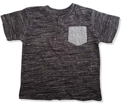 BOYS MELANGE POCKET HENLEY-CHARCOAL|COPPER DENIM