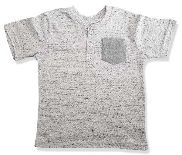 BOYS MELANGE POCKET HENLEY-GREY|COPPER DENIM