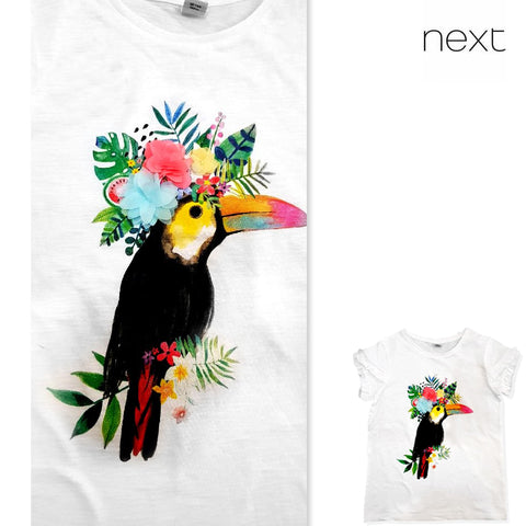 GIRL'S TOUCAN FLORAL T-SHIRT | NEXT-(3Y-12Y)