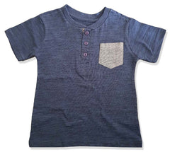 BOYS MELANGE POCKET HENLEY-NAVY|COPPER DENIM