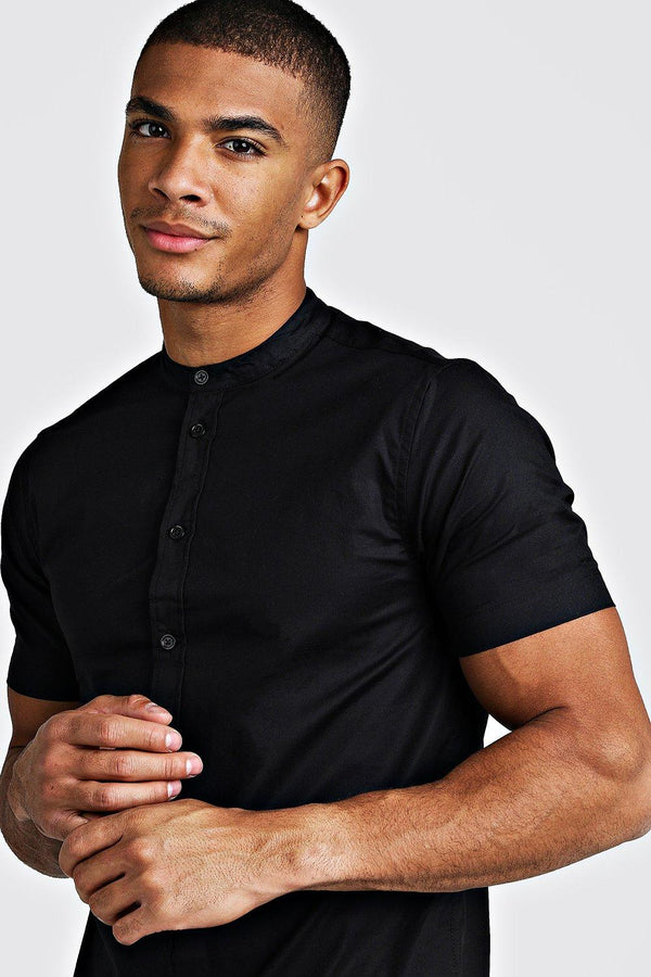 MUSCLE FIT SHORT SLEEVE GRANDAD JERSEY SHIRT | boohooMAN