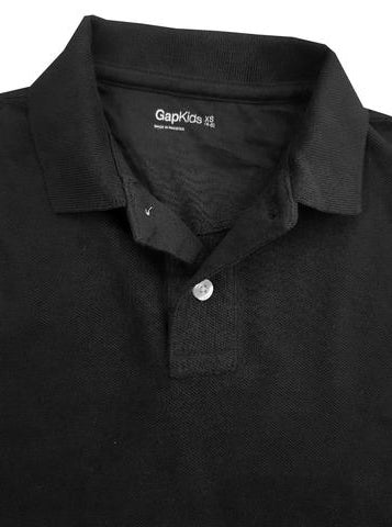 BOY'S FULL SLEEVE PIQUE POLO|GAP-BLACK- (4Y-16Y)