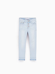 GIRL'S SKINNY JEANS WITH FRAYED HEMS | ZR-(5Y-10Y)