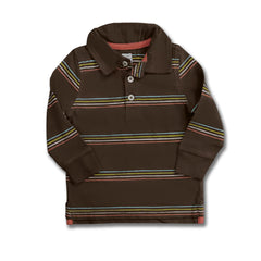 BOY'S B-GRADE BROWN STRIPE POLO | ON-(6M-5Y)