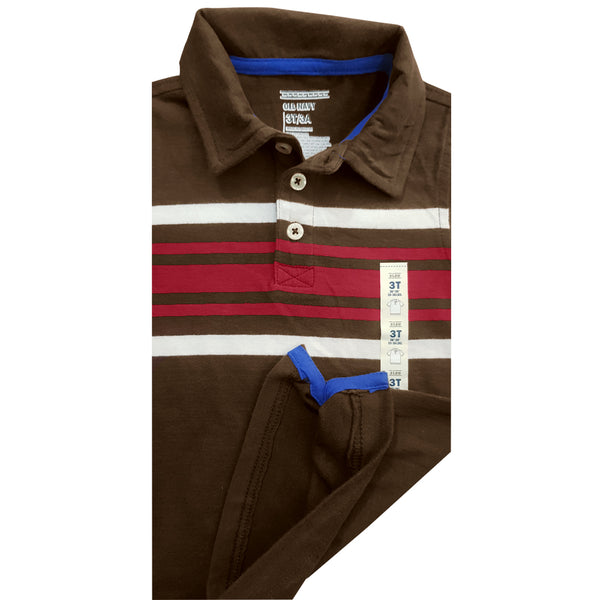 BOY'S STRIPE BROWN POLO | OLD NAVY-(12M-5Y)