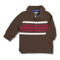 BOY'S BROWN STRIPE POLO | OLD NAVY-(6M-5Y)