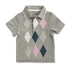 BOY'S GRAY CHECK POLO | ON-(2Y-5Y)