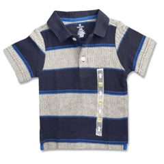 BOY'S GRAY NAVY STRIPE POLO | ON-(12M-5Y)
