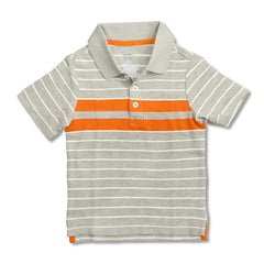 BOY'S GRAY STRIPE POLO | OLD NAVY-(12M-5Y)