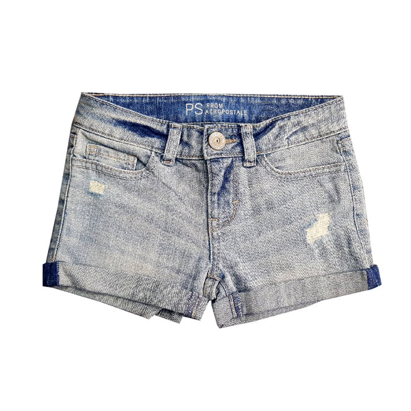 GIRL'S RIPPED DENIM SHORT | AEROPOSTALE-(5Y-14Y)