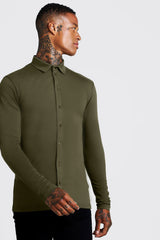MUSCLE FIT LONG SLEEVE JERSEY SHIRT | boohooMAN