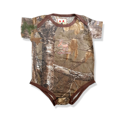 BOY'S YOUNG BUCK CAMO ROMPER | LIL JOEY-(0M-18M