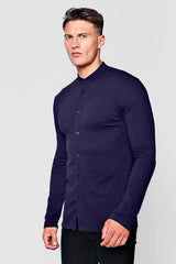 MUSCLE FIT LONG SLEEVE GRANDAD JERSEY SHIRT | boohooMAN