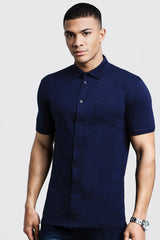 MUSCLE FIT SHORT SLEEVE JERSEY SHIRT | boohooMAN