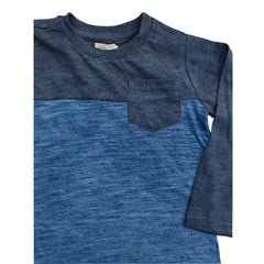 BOYS MELANGE 2 TONE POCKET TEE| COPPER DENIM-(2Y-16Y)
