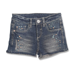 GIRL'S COLOR DOTED DENIM SHORT | C&A-8Y-14Y)