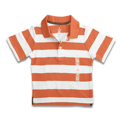 BOY'S ORANGE WHITE STRIPE POLO | ON-(12M-5Y)