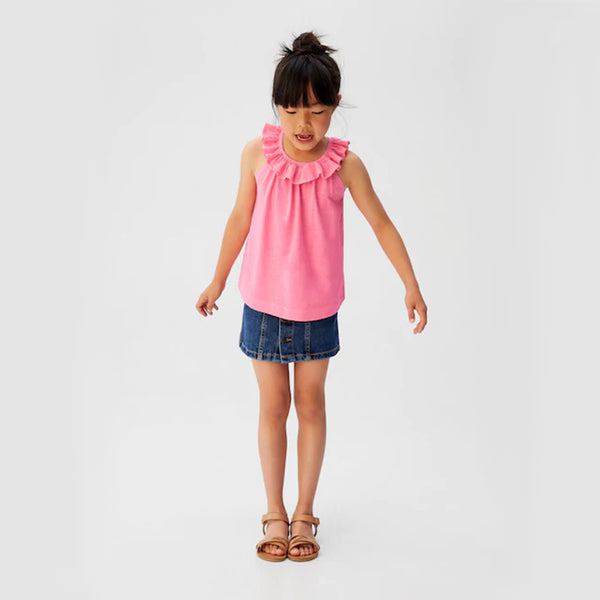 GIRL'S RUFFLED COTTON TOP | MANGO-(5Y-14Y)