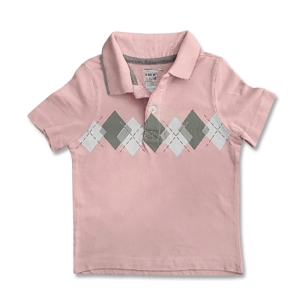 BOY'S PINK CHECK POLO | ON-(12M-5Y)