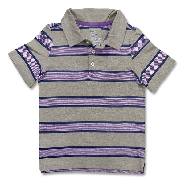 BOYS GREY-PURPLE JERSEY POLO BY OLD NAVY( 4&5YRS)