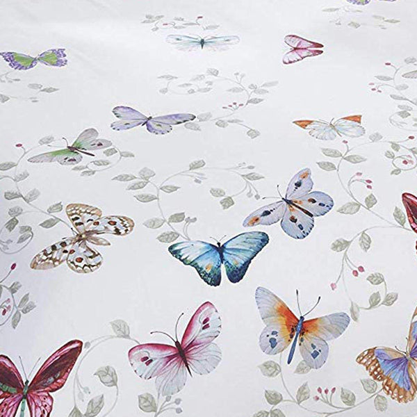 MARIPOSA BUTTERFLIES WHITE SINGLE DUVET SET