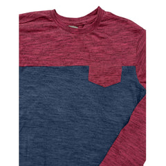 BOYS MELANGE 2 TONE POCKET TEE| COPPER DENIM-(8Y-16Y)