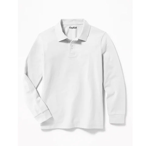 BOY'S FULL SLEEVE PIQUE POLO|GAP-WHITE- (4Y-16Y)