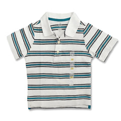 BOY'S WHITE STRIPE POLO | ON-(12M-5Y)