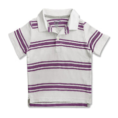 BOY'S WHITE PURPLE STRIPE POLO | ON-(12M-4Y)