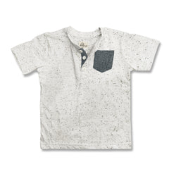BOYS MELANGE POCKET HENLEY-GREY|COPPER DENIM-(2Y-7Y)