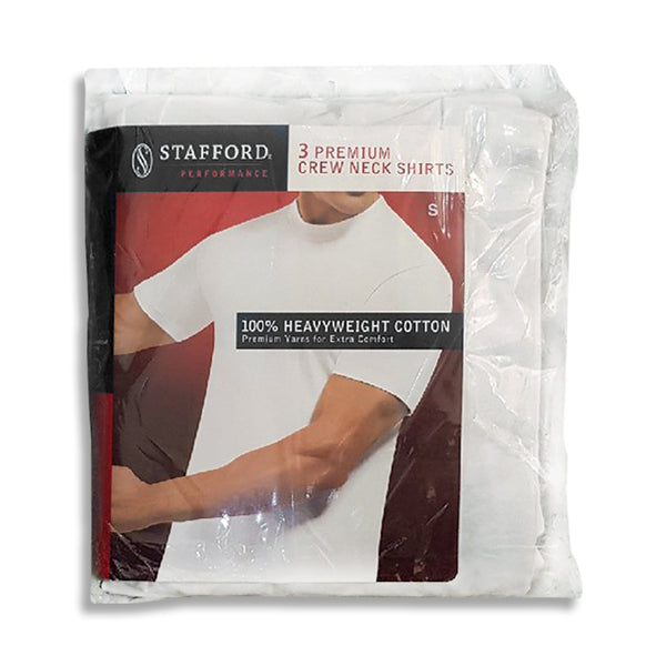 MEN'S PACK OF 3 100% HEAVY WEIGHT COTTN T-SHIRT|STAFFORD