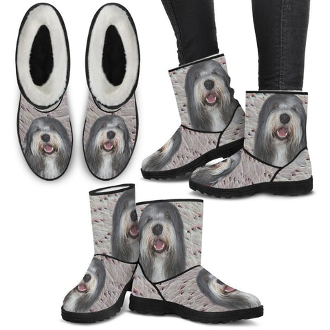 Bearded Collie Print Faux Fur Boots For Women-Free Shipping-Paww-Printz-Merchandise