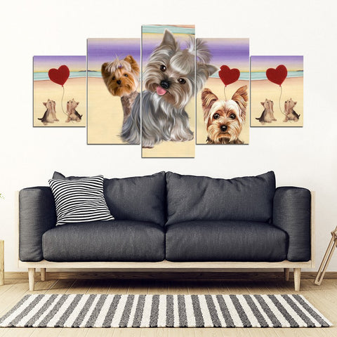 Yorkshire Terrier (Yorkie) Print-5 Piece Framed Canvas- Free Shipping-Paww-Printz-Merchandise