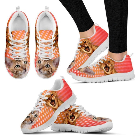 Toyger Cat Print (White/Black) Running Shoes For Women-Free Shipping-Paww-Printz-Merchandise