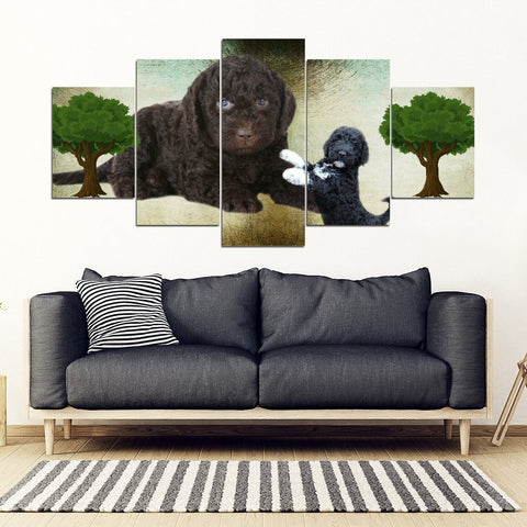 Barbet Dog Print-5 Piece Framed Canvas- Free Shipping-Paww-Printz-Merchandise