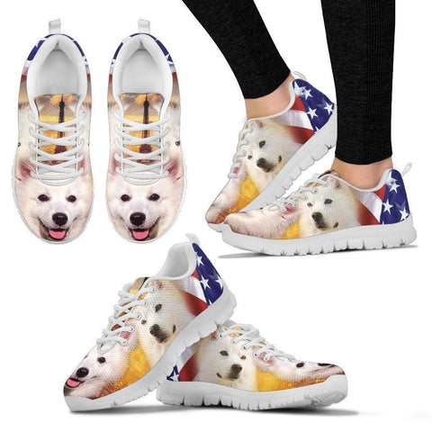 American Eskimo Print Running Shoes For Women- Free Shipping-Paww-Printz-Merchandise
