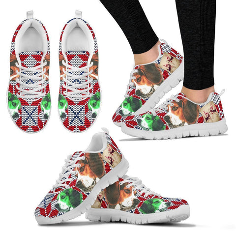 Beagle Dog Christmas Running Shoes For Women- Free Shipping-Paww-Printz-Merchandise