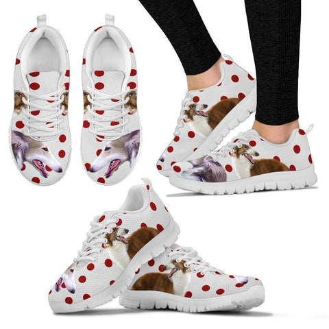 Borzoi Dog With Red Dots Print Running Shoes For Women-Free Shipping-Paww-Printz-Merchandise
